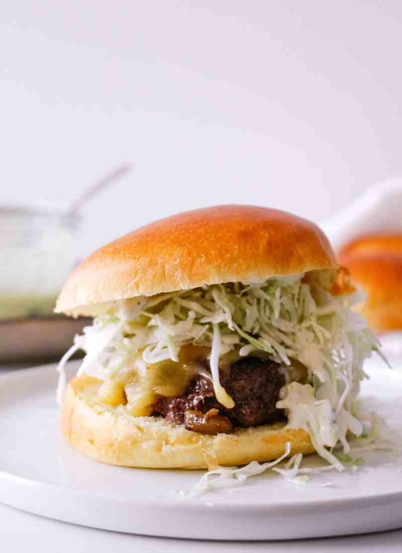 New Mexico Green Chile Cheeseburgers