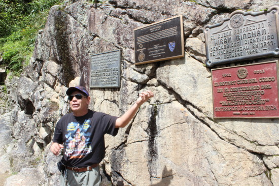 A local guide explains about the making public the existence of Machupicchu by Hiram Bingham