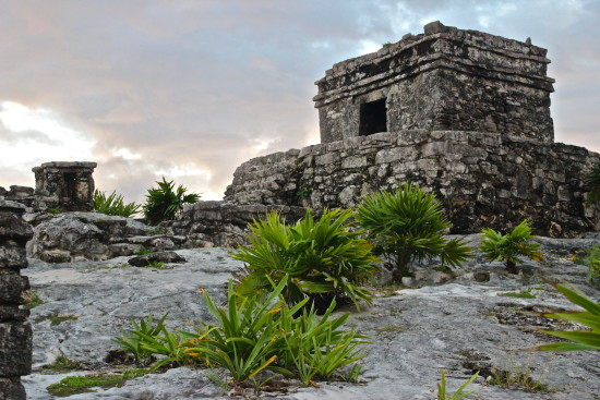 The Mayan ruins of Tulum by sunset