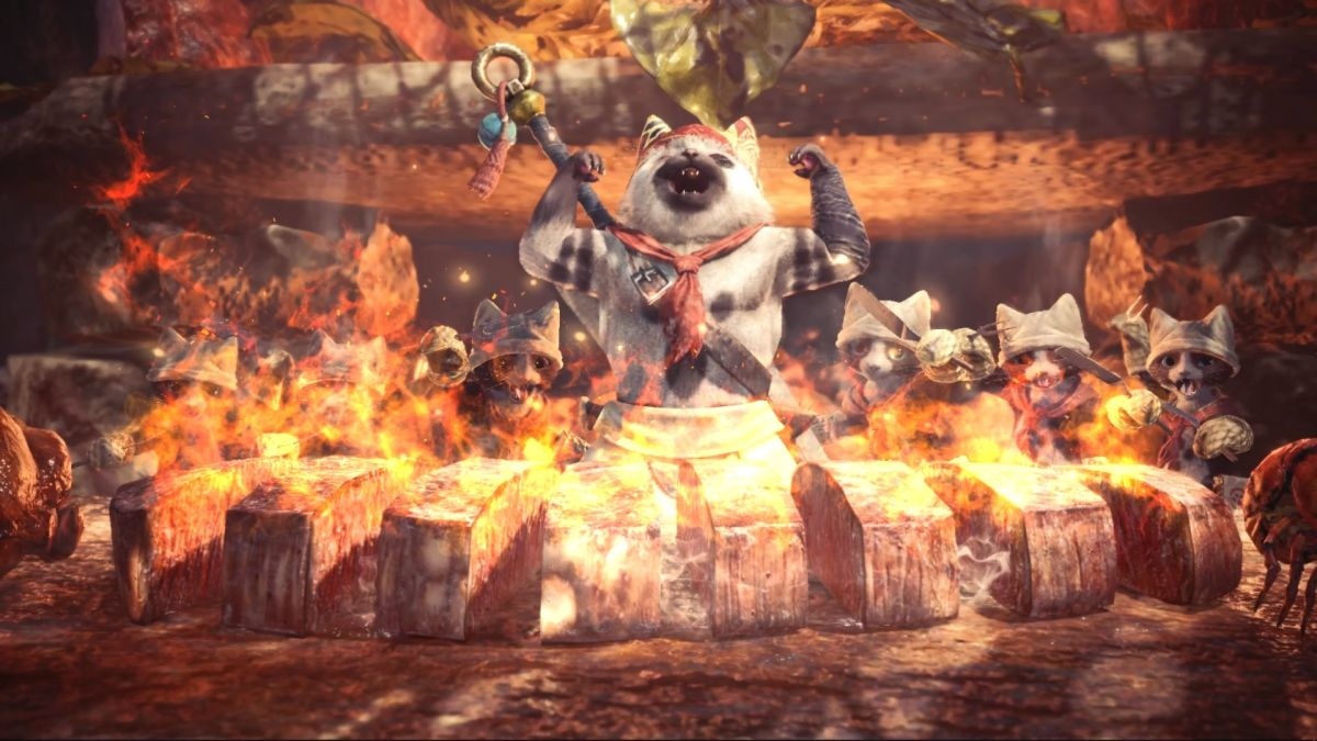 Watch YouTuber Babish make the chef's choice platter from Monster Hunter: World A cat chef flexes his muscles over burning meat 1