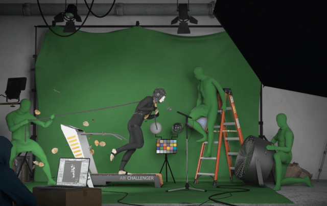 Here's a mesmerizing montage of 3D artists all using the same animation An image by artist Julienne Aldrich for the Alternate Realities 3D Challenge. A man in a motion capture suit pulls a chain while on a treadmill. 2
