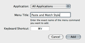 Paste and Match Style Dialog