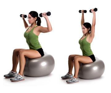 Image result for Exercise Ball Dumbbell Shoulder Press