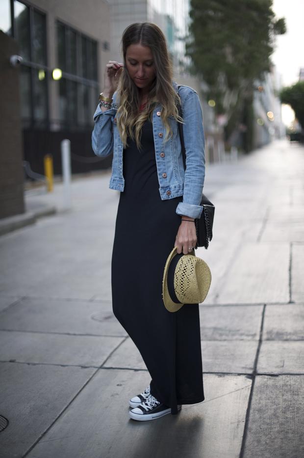 Veste, collier et chapeau H M • Robe American Apparel • Sac Forever 21 •  Baskets Converse (sans dec ) 8066bd98f015