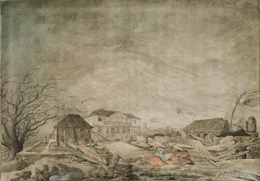 VIEW IN ANTIGUA: EFFECTS PRODUCED UPON THE HOUSE AT CLARK'S HILL BY THE HURRICANE IN 1772 (1775-6)