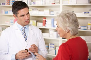 Doctor and patient at pharmacy