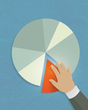 taking a piece of pie chart