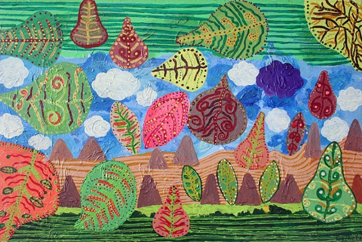 Leaves by Pua Zhe Xuan, part of the The Art of Autism collaborative. Oil painting with green, red, and pink abstract leaves blowing across an open field with a cloudy sky above representing Neurodiversity.