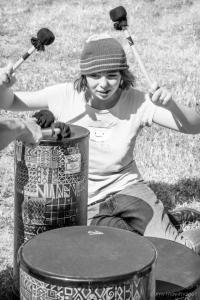 Molly drumming at Hidden Wings