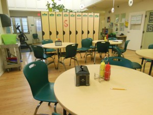 Lunch room is set up like a restaurant so students can practice work skills before going to a real job