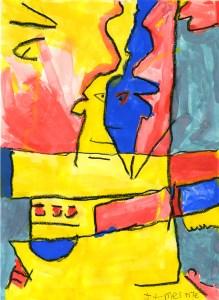 """James Frye """"Fractal Faces"""" Watercolor"""
