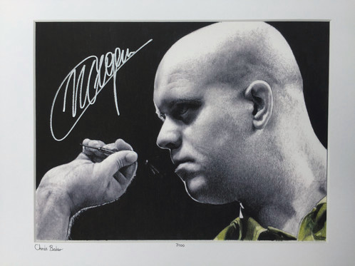 Chris Baker Pencil drawing Michael Van Gerwen