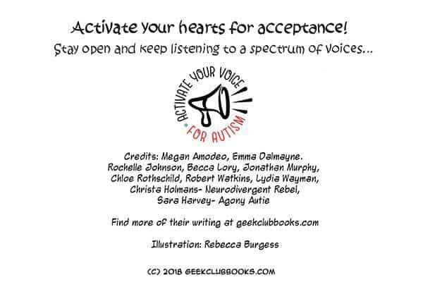 Hear Our Spectrum of Voices Comic is produced by Geek Club Books, an autism nonprofit. The art is by Rebecca Burgess and the quotes are from the following autistic advocates:  Lydia Wayman, Chloe Rothschild, Megan Amodeo, Becca Lory, Jonathan Murphy, Rochelle Johnson, Robert Watkins, Emma Dalmayne, Christa Holmans (Neurodivergent Rebel), and Sara Harvey (Agony Autie)