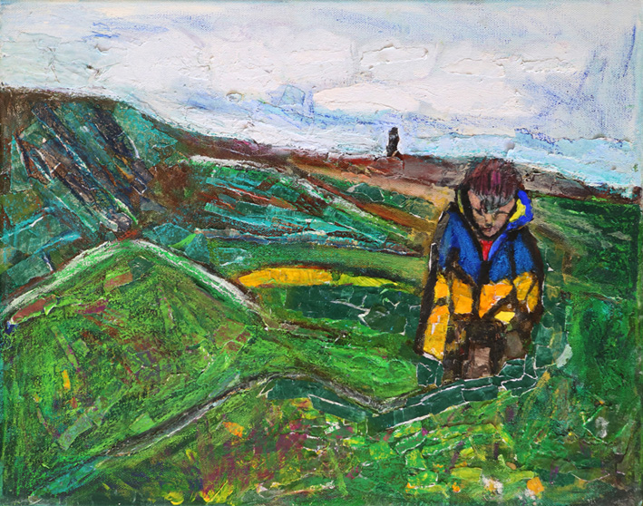 Walking on Nancecuke (Mixed Media on Canvas)  People say painting really portrays my autism – someone took a picture of me walking through a Cornish landscape with my head down feeling anxious.
