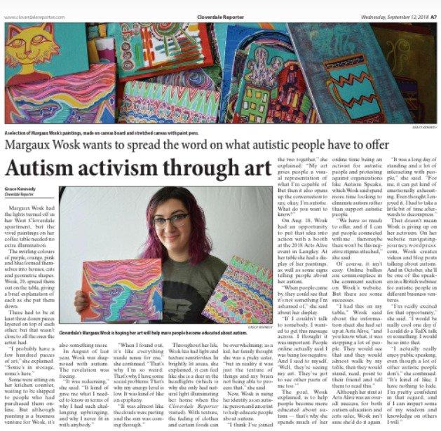 Cloverdale Reporter article activism through art