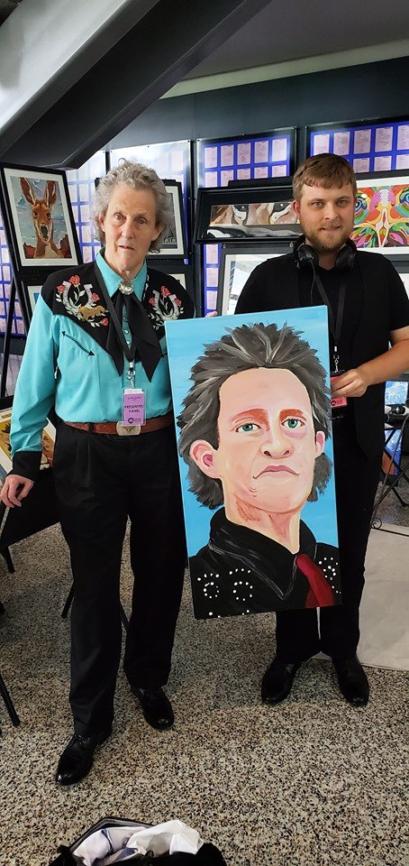 Joel Anderson with Temple Grandin and painting