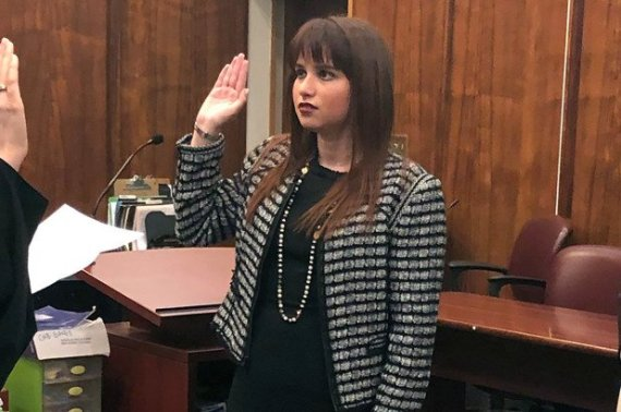 Haley Moss being sworn in