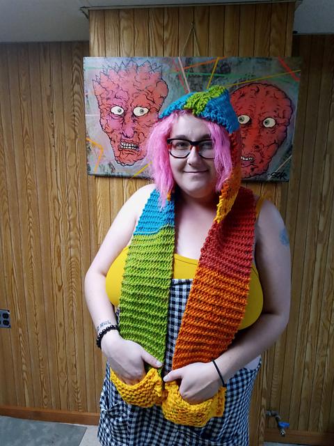 Birch in her knitting creation