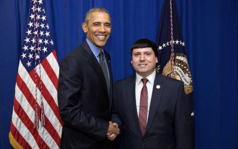 Xavier DeGroat with Obama