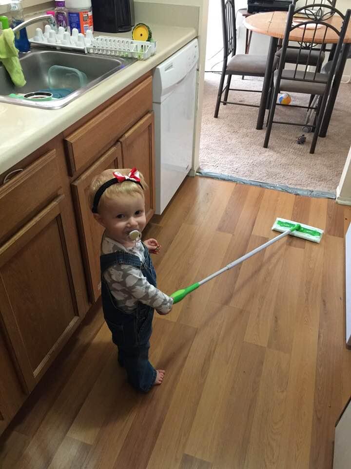 Makayla mopping
