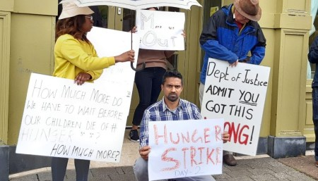 A photo of some of the asylum seekers currently on hunger strike outside the Skellig Star direct provision centre in Cahersiveen, Co. Kerry.