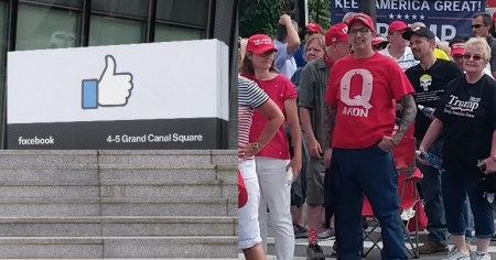 A photo of Facebook HQ in Dublin alongside a photo of a QAnon supporter wearing a red QAnon t-shirt.