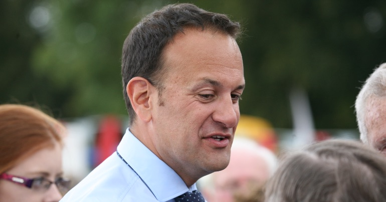 A photo of Leo Varadkar looking at someone.