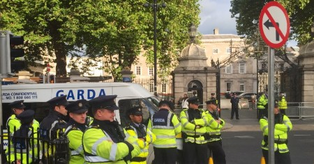 Gardaí involved in policing a left-wing protest outside the Dáil.