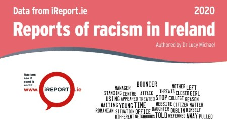 The cover of the latest report from INAR which reveals an increase in reports of racism made in Ireland last year which is partly down to the increase role of the far right in the country.