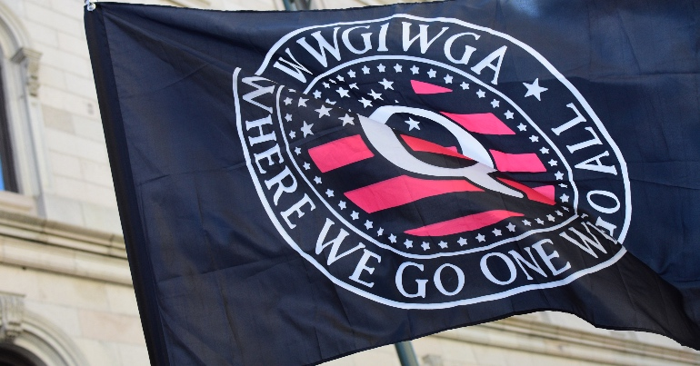 A photo of a QAnon flag with the slogan WWG1WGA on it.