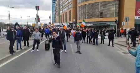 A photo of an anti-lockdown protest that took place in Dublin in October 2020, an example of what the ICCL described as inconsistent policing.