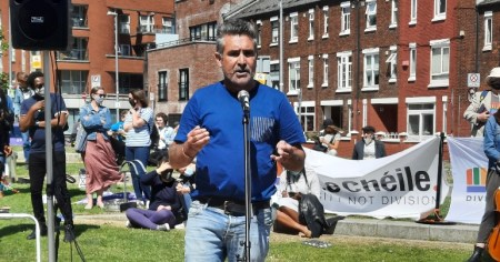 Martin Collins of Travellers' rights group Pavee Point speaking at the Le Chéile anti-hate rally over the weekend.
