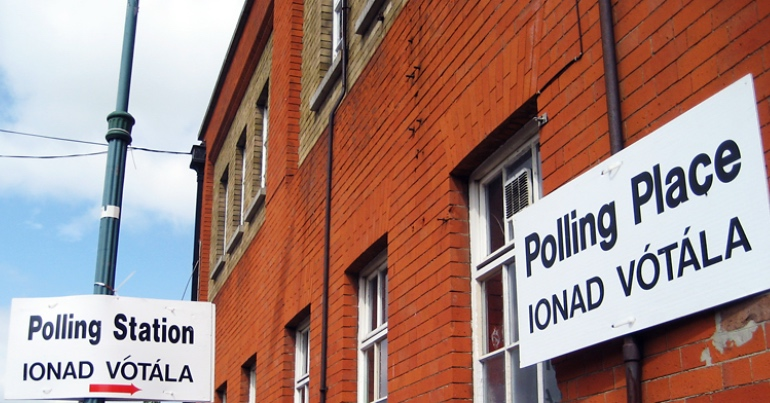 A polling station similar to the kind used in the Dublin Bay South by-election with Labour won.