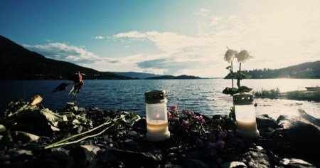 A photo of a small memorial on the island of Utøya where a far-right extremist murder 69 Labour youth activists in July 2011.