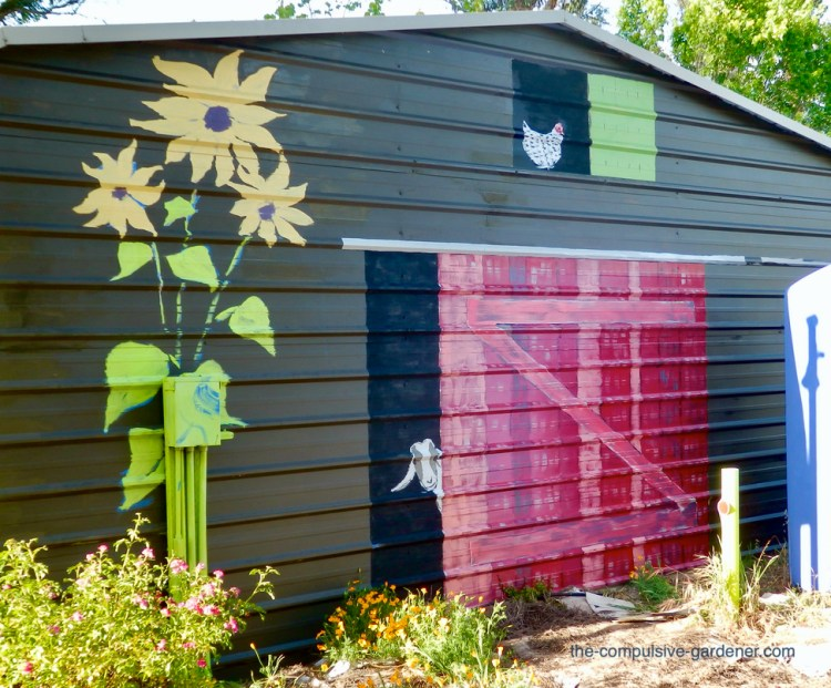 Metal Garage Barn Mural with Goat and Chicken