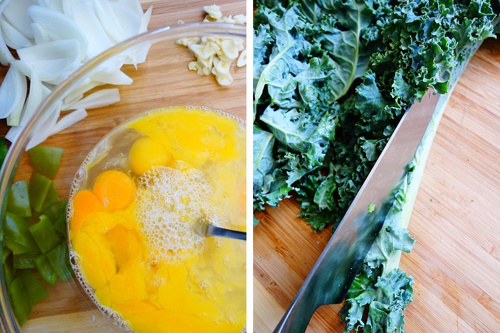Big Breakfast Paleo Scramble Chorizo and Kale Ingredients