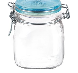 Bormioli Rocco Fido Square Jar with Blue Lid, 25-1/4-Ounce