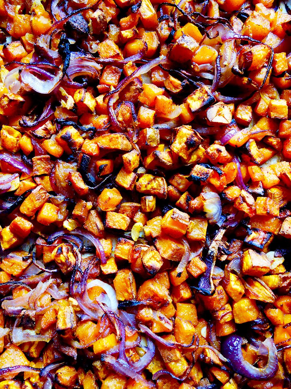 Anytime Sweet Potato, Carrot, Onion and Garlic Hash