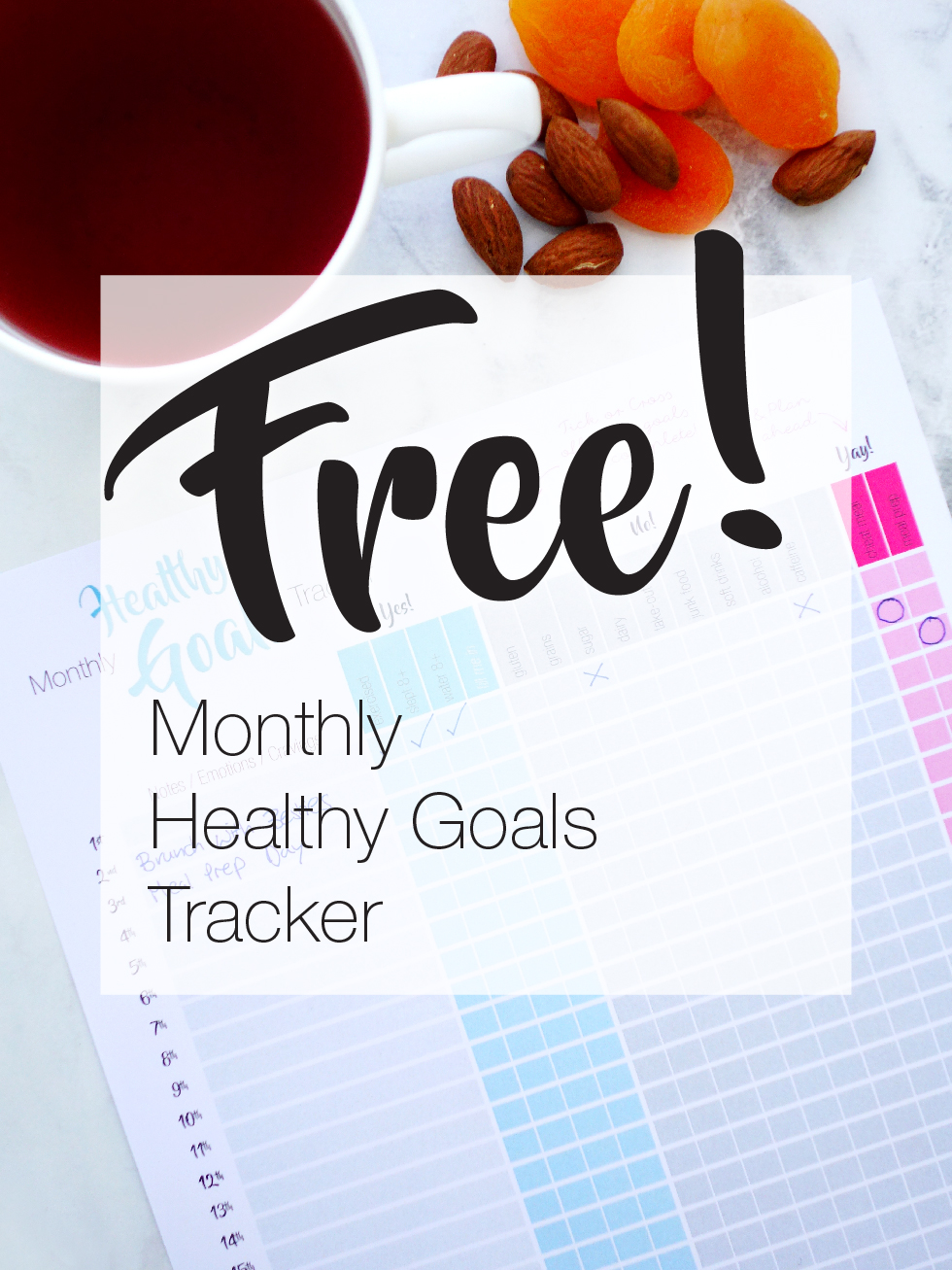 FREE Monthly Healthy Goals Tracker