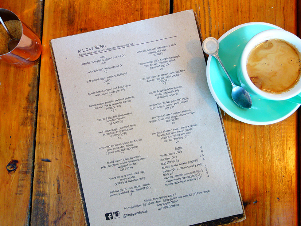 Finlay & Sons no 917 Breakfast Menu June 2017