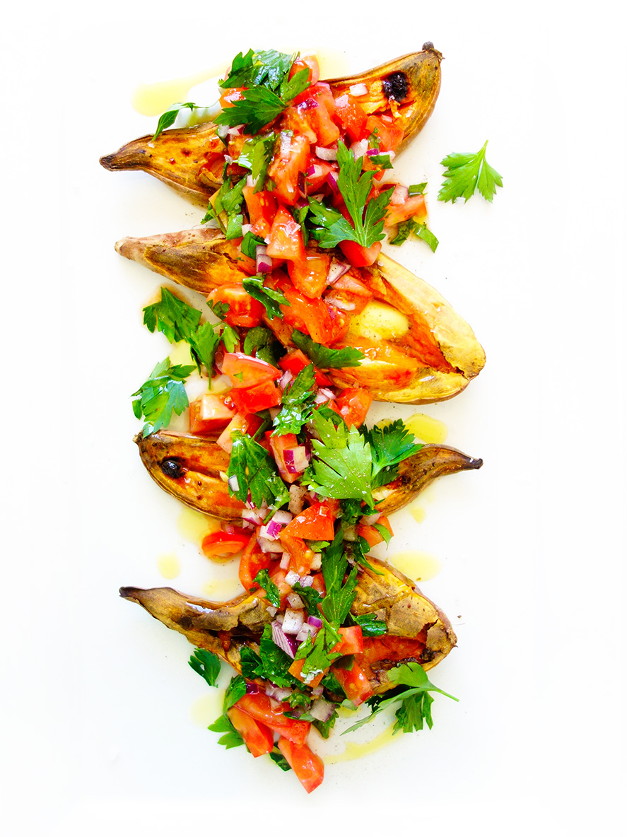 Simple Caramelised Sweet Potato Boats with Salsa