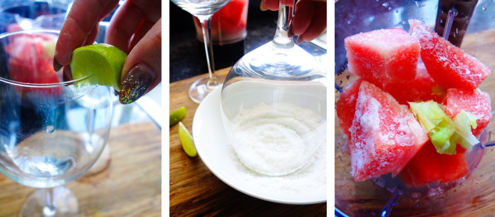 Virgin Watermelon Lime Margaritas steps method