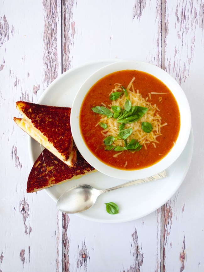 Roast Tomato Soup with Grilled Ham and Cheese Sandwiches