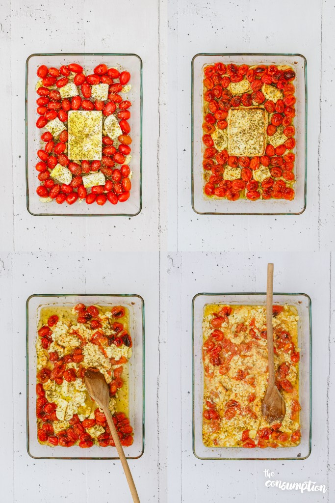 Easy Baked Feta and Ricotta Cheese Cherry Tomato Sauce Feature Cooking Steps