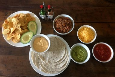 Tex Mex Food with meat and tortillas