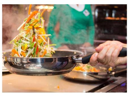 cooking in a stainless steel cookware