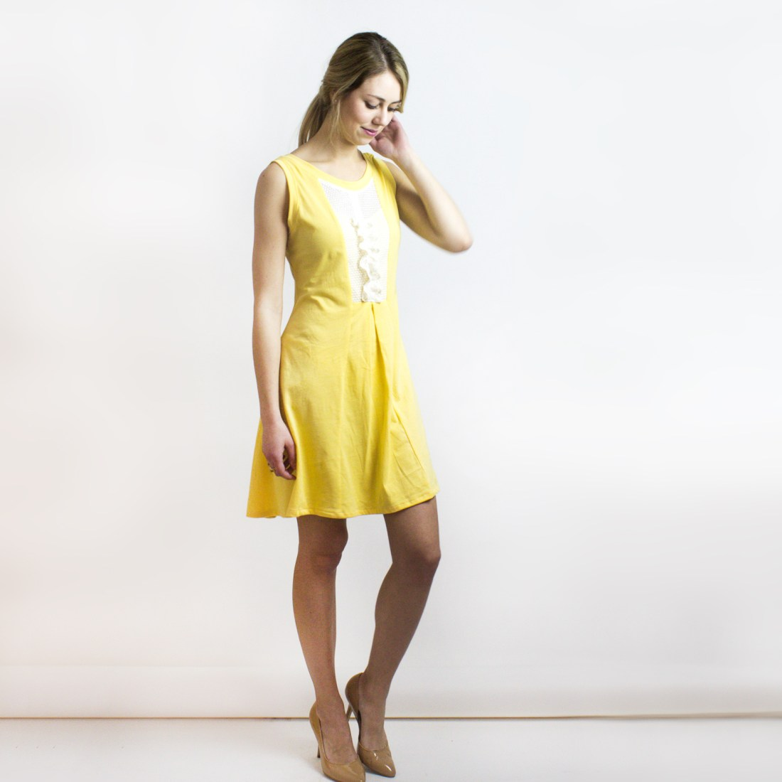 Sunshine Yellow Blake Beach Dress (organic cotton & lace trim) from Simone's Rose SS16 Collection | eco-conscious and sustainable women's fashion label made in downtown Toronto