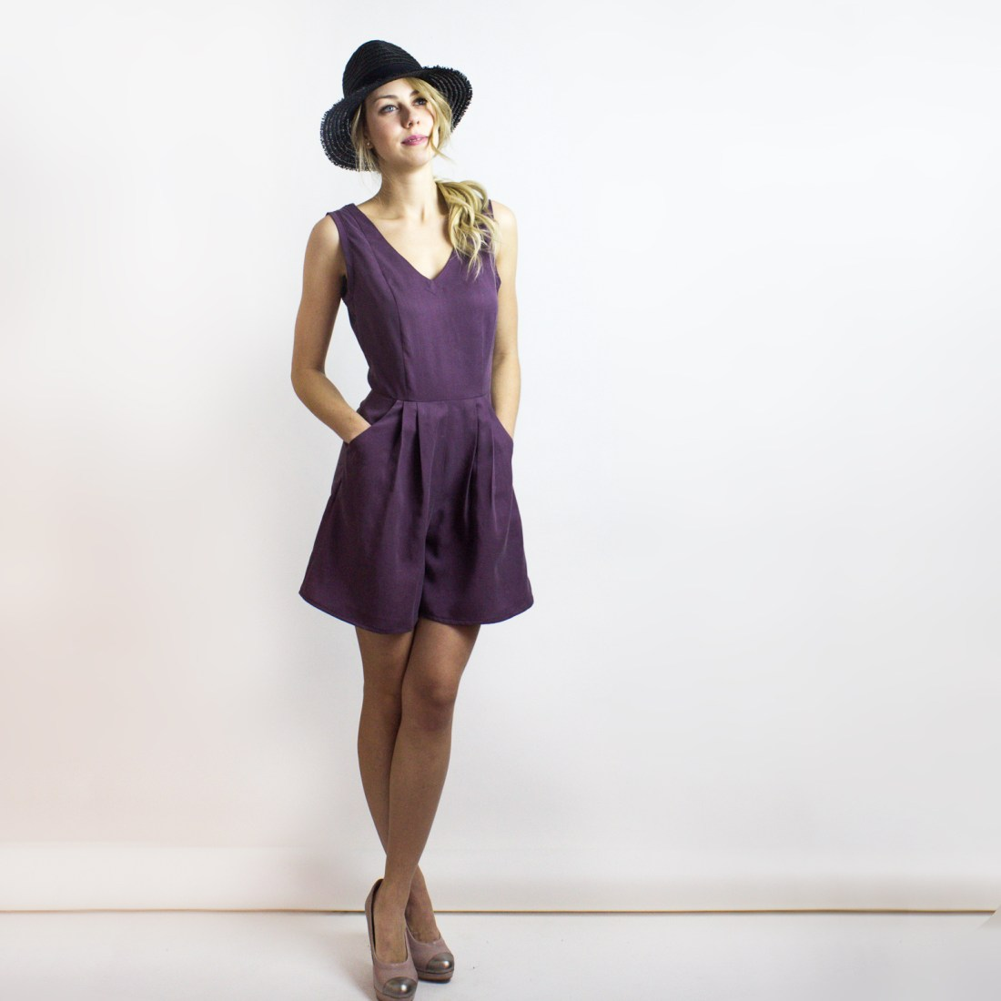 Plum Flint Romper Jumpsuit from Simone's Rose SS16 Collection | eco-conscious and sustainable women's fashion label made in downtown Toronto