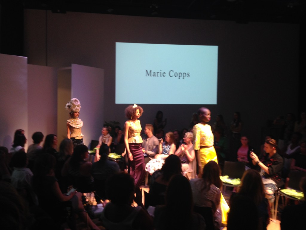 Marie Copps, one of the highlights at the Design Forward 2016 runway show, hosted by Fashion Takes Action | The Curious Button