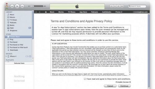 iTunes T&C updated - now mentions subs Uncategorized